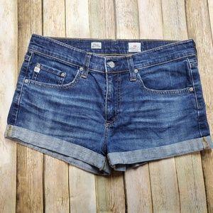 Ag Adriano Goldschmeid Pixie Roll-up Denim Shorts